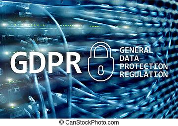 données, arrière-plan., général, compliance., protection, salle, gdpr, règlement, serveur