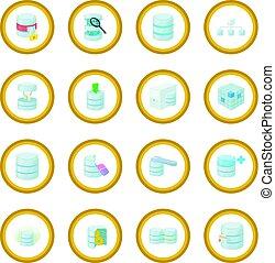 données, base, icône, cercle