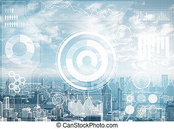 données, bourse, cityscape, fond