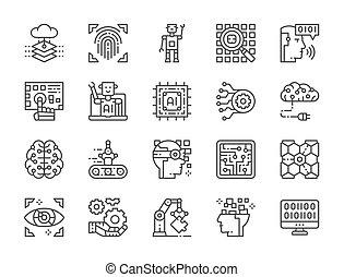 données, chatbot, base données, grand, icons., ensemble, intelligence artificielle, ligne, more.