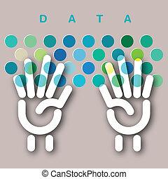 données, clavier, concept, entrée