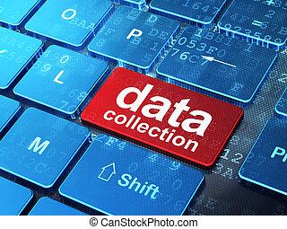 données, collection, sur, clavier ordinateur, fond