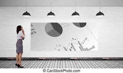 données, composite, numérique, analytics, regarder, femme affaires