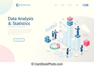 données, concept., equipe affaires, gabarit, marketing., analyse, expert, atterrissage, page, gestion, isométrique, statistique, consultant