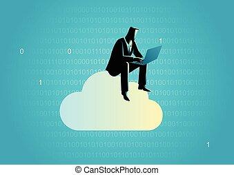 données, concept, stockage, nuage