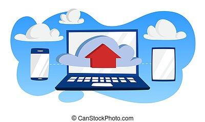 données, concept., stockage, technologie internet, nuage