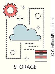 données, concept, stockage
