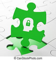 données, concept:, tête, à, cadenas, sur, puzzle, fond