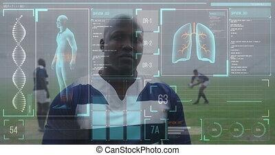 données, corps, américain, joueur, sur, humain, africaine, animation, rugby, mâle, statistiques