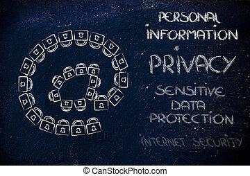 données, créer, information, personnel, intimité, serrures, symbol:, sécurité, email