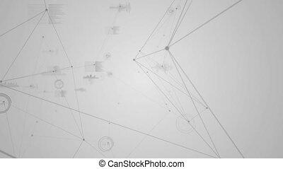 données, en mouvement, ondes sonores, fond, contre, blanc, connexions