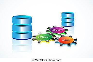 données, entreposage, concept