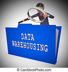 données, entreposage, datacenter, ressources, stockage, 3d, rendre