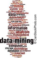 données, exploitation minière, concept, mot, nuage