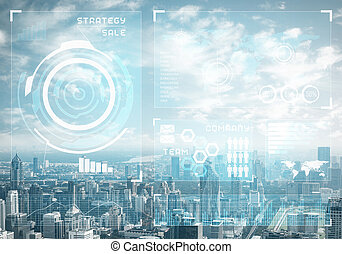 données, fond, cityscape, bourse