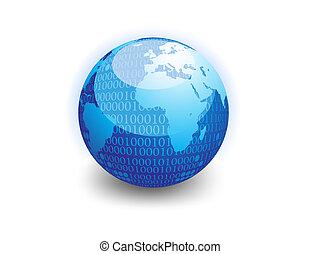 données, globe, binaire