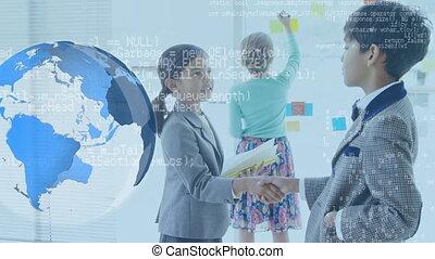 données, globe, mains secouer, en mouvement, écoliers