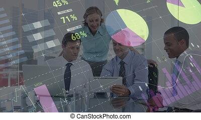 données, graphiques, numérique, gens, regarder, business, tablette, premier plan