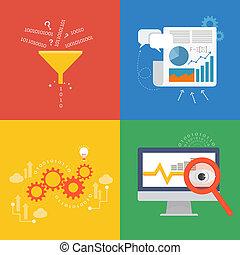 données, icône, conception, plat, concept, élément