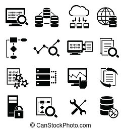 données, icônes, grand, calculer, technologie, nuage