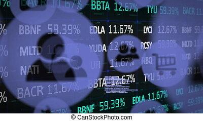 données, icônes, stockage, contre, numérique, en mouvement, marché, traitement