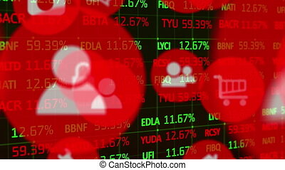 données, icônes, stockage, contre, numérique, marché, traitement