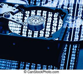 données, informatique, stockage, parties