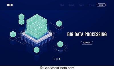 données, isométrique, concept, base données, grand, salle, traitement, blockchain, artificiel, serveur, sombre, ai, nuage, intelligence, néon, calculer