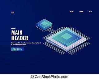 données, isométrique, informatique, stockage, calculer, base données, processus, puce, néon, illustration, serveur, vecteur, avenir, microélectronique, numérique, icône, technologie, salle, nuage