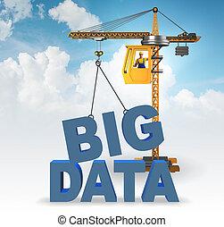 données, lettres, grue, concept, levage, grand