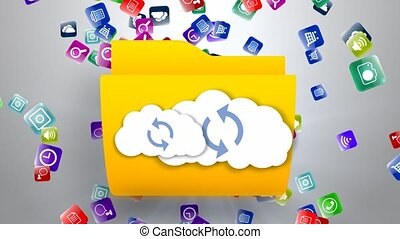 données, ligne, stockage, nuage, storage.