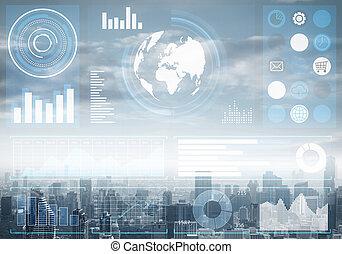 données marché, cityscape, stockage, fond