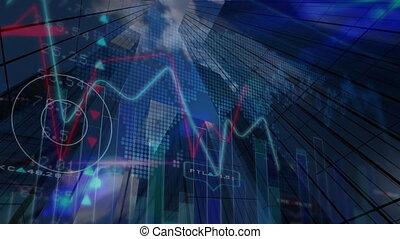 données, marché, contre, stockage, gratte-ciel, graphique