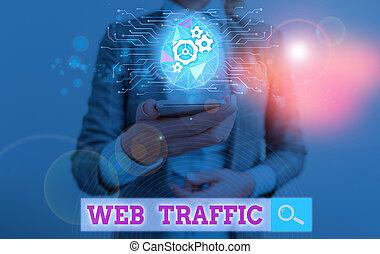données, montant, visiteurs, website., signe, envoyé, texte, toile, conceptuel, projection, reçu, photo, traffic.