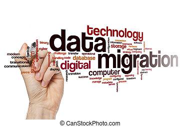 données, mot, migration, nuage
