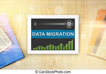 données, mot, migration, tablette