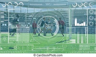 données, multi-ethnique, sur, équipes, jouer, deux, animation, rugby, statistiques