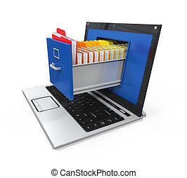 données, ordinateur portable, stockage