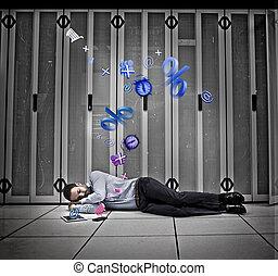 données, rêver, applications, ouvrier