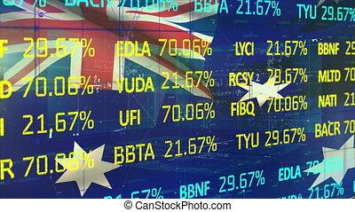 données, stockage, contre, drapeau, marché, national, australien, traitement