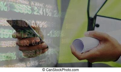 données, stockage, contre, utilisation, mâle, marché, architecte, smartphone, traitement