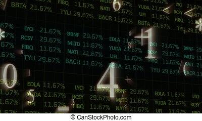 données, stockage, processsing, symboles, contre, nombres, en mouvement, marché