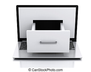 données, storage., ordinateur portable, à, fichier, cabinet.