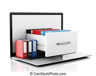 données, storage., ordinateur portable, et, fichiers, 3d