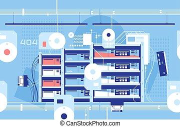 données, technologie, élevé, salle, important, serveur