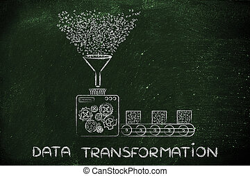 données, transformation, usine, traitement, code binaire