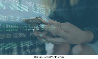 données, utilisation, smartphone, femme