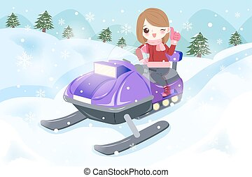 donna, è, snowmobiling
