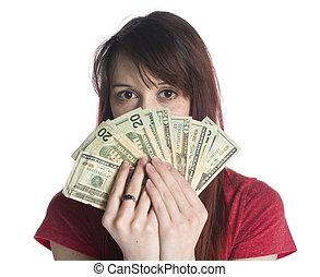 donna, 20, mantello, dollaro, ci, faccia, mezzo, effetti