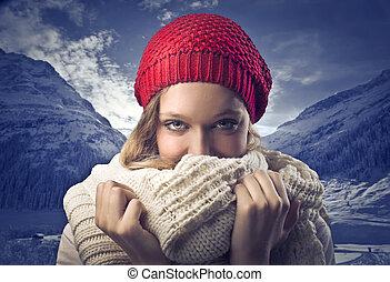 donna, a, inverno